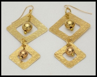 LISETTE - Handforged Hammered Bronze Squares Statement Earrings