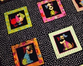 Finished Quilt Top, Neon Pups Quilt Kit, All Cotton, Bright Colors, Hand Pieced Lap Quilt Size, 45x50 Inch Quilt Top, FREE Shipping U.S.