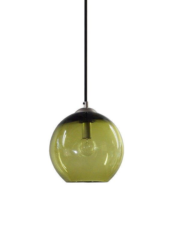 olive hand blown glass pendant lighting bubble glass pendant light