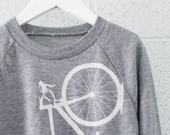 Toddler Bicycle 6T Long Sleeve Raglan TEE, WHITE BIKE on gray