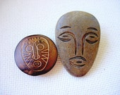 Two Neat Vintage Mask-Face-Head Realistic-Goofy Buttons