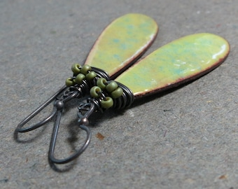 Mint Green Enamel Earrings Wire Wrapped Beaded Earrings Oxidized Sterling Silver Earrings