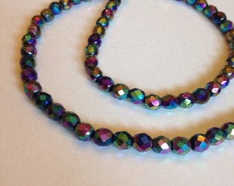 String of vintage faceted irridescent beads