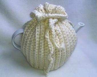Crochet Tea Cosy, Tea Pot Cozy, Teapot cozy in Aran, Winter White, thick wool blend
