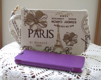 French Country  Linen Wristlet Zipper Gadget Pouch Retro Vintage