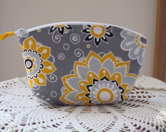 Cosmetic Bag Clutch Zipper Purse Funky Flowers in Gray  Made in the USA Bridal Wedding Essential oil bag