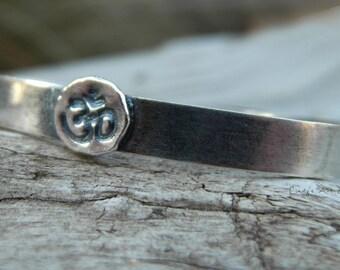 Yoga Cuff Bracelet 925 Sterling Silver Om Aum Ohm Cindy's Art & Soul