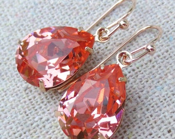 Swarovski Crystal Light Coral Teardrop Simple Delicate Dangling Rose Gold Bridal Earrings Wedding Jewelry Bridesmaids Gifts Light Coral