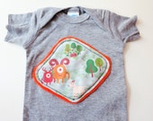 Infant t-shirt with monster fabric appliqué - mountains, monsters, goat, hiking - Size 6 MONTHS