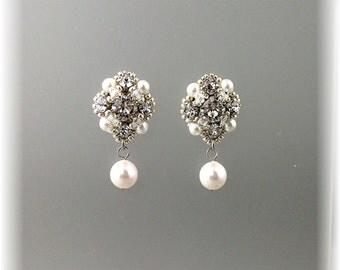Vintage Styled Wedding Post Earrings, Retro Weddng Pearl and Rhinestone Earrings, Classic Wedding Earrings
