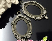 CS-EX-03002PP-  Nickel free , antique brass,Art Nouveau picture frame oval cameo setting charm,pale pink, 4 pcs (for 25mmx18mm cabochon)