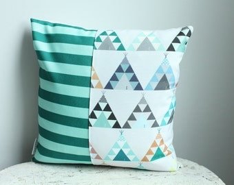 Pillow cover blue teepee 14 inch 14x14 modern hipster accessory home decor nursery baby gift present zipper closure canvas ready to ship