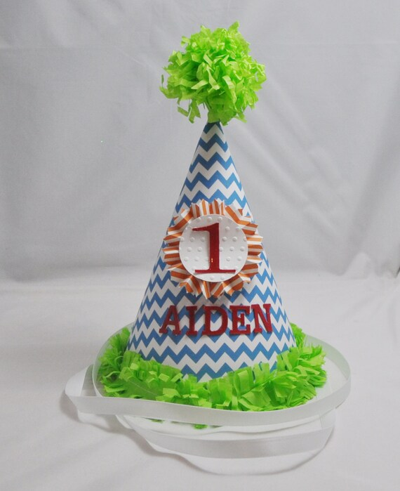 1st Birthday Party Hat Boy Small Chevron By