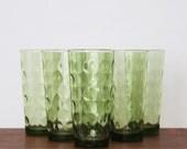 Vintage Set of 6 Hazel Atlas El Dorado Large 10 oz Green Tumblers, Hazel Atlas Drinking Glasses, Mid Century Glasses