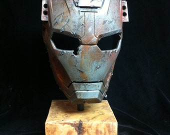 Museum mounted Ironman Helmet Display Stand rusted and weathered