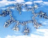Myth and Magic Fantasy Fairy Tale Creatures Silver Wish Charm Bracelet includes Gnome, Mermaid, Fairy, Pegasus, Unicorn, Dragon...