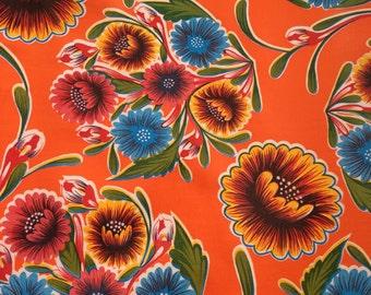 1 yard Oilcloth- Orange Bloom