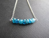 Azure. Apatite Necklace, Gemstone Bar Necklace, Simple Natural Jewelry