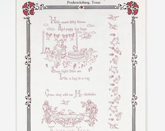 Lace Tales Redwork Embroidery Hot Iron Transfer - Vintage Pattern - Kitty Kisses - Puppy Dog Hugs - My Chickadee - Bedtime Pillow Case Slip