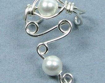 Sterling Silver Pearl Ear Cuff Elegant Lobe Enhancer© Swarovski Pearl or Choice of bead cartilage earring non pierced