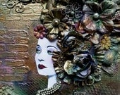 "Mixed Media Lady Unique Altered Art Finnabair Inspired ""WAITING"""