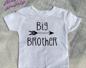 SALE big brother Shirt Big Bro Shirt Boys Shirt White with black New Brother arrow shirt