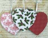Modern Christmas ornaments wood heart decorations red green white holly polka dot