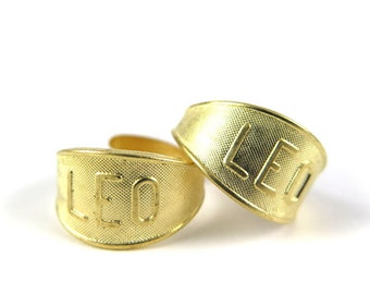 Raw Brass Astrological Sign Ring - LEO - one size fits most / adjustable (2x) (J618)