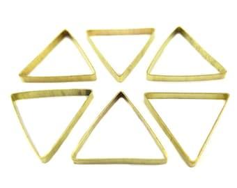 Raw Brass Geometric Triangle Charms (8x) (K108-A)