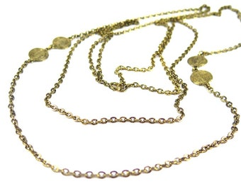 Vintage Antique Gold Plated Cable Chain Necklace with Circle Charms (1x) (J632)