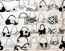 New // PURSE SHELF // 100% Cotton Fabric // 1 Yard // Loralie Harris // Ladies Purses // Black & White // Loralie Designs