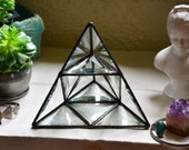 Stained Glass Pyramid Display Shelf. Geometric Glass Jewelry Storage. Glass Display. Glass Jewelry Display Shelf. Soldered Pyramid Prism.