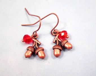 Acorn Earrings, Copper Acorns and Red Glass Beads, Dangle Earrings, FREE Shipping U.S.