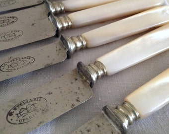 Unusual French Mother of Pearl Handled Knives with Steel Blades! Super Sharp. Marked Coutellerie Superieure