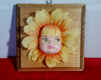 Yellow Flower Baby Doll Face Hanging Wall Palque