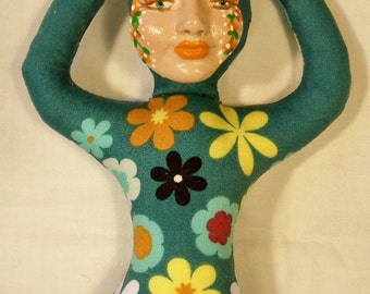 9 in. Teal Flower Goddess cloth art doll form w/face cab  You finish her Bead Decorate