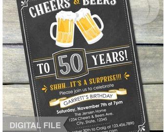 "Surprise 50th Birthday Chalkboard Invitation Cheers & Beers Invite Birthday Party Men Women - Digital Invite 5"" x 7"""