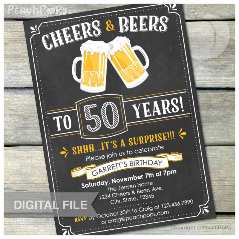 Surprise 50th Birthday Chalkboard Invitation Cheers & By