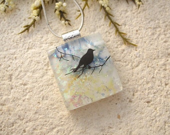 Small Bird Necklace, Dichroic Glass Jewelry, Branch, Dichroic Necklace, Dichroic Jewelry, Fused Glass Jewelry Necklace Included 082315p119