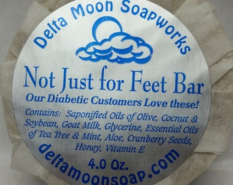Handmade all natural Not Just for Feet Bar with Olive Oil,  Aloe, Tea Tree, Mint, foot soap,  soap for diabetic feet, olive oil soap