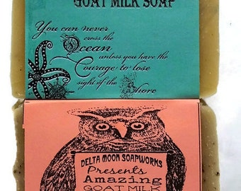 Handmade Scrubby Goat Milk soaps, coffee soap, sea kelp soap, all natural soap, cold process soap, exfoliating soap, shaving soap