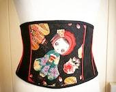 Kawaii Geisha doll Japanese silk waspie belt