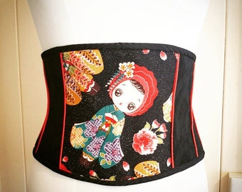 Kawaii Geisha doll Japanese silk waspie belt
