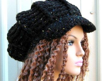 Thick newsboy cap, Black Visor Tam Newsboy Cap Hat Hippie Beanie Tweed Look, newsboy hat