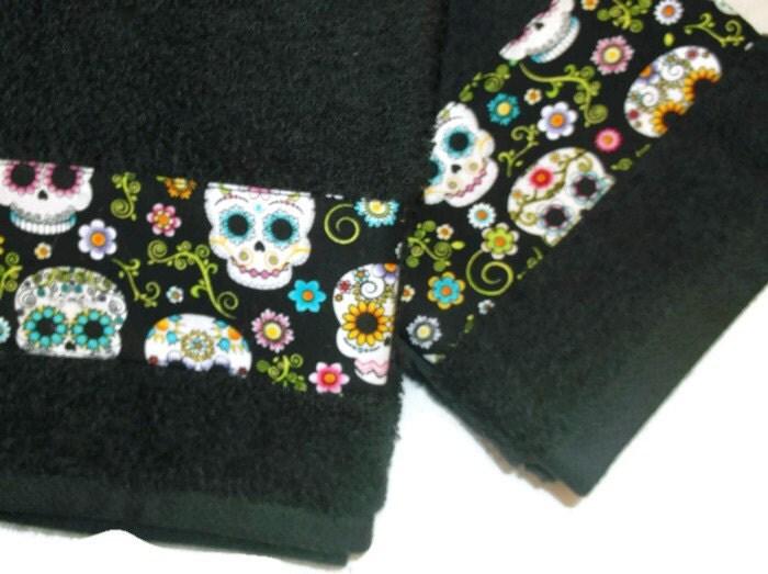 Black Sugar Skull Towel Da de las toallas de mano by