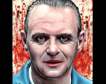 """Print 8x10"""" - Hannibal Lecter - Silence of the Lambs Dark Art Horror Anthony Hopkins Cannibal Serial Killers Pop Art Lowbrow Blood 90s Red"""