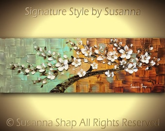 ORIGINAL Abstract Blue Brown White Cherry Blossom Flower Tree Painting Textured Modern Palette Knife Art Wall Art Home Decor Susanna 36x12