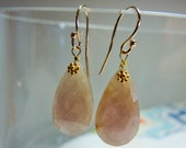 LAST DAY 20% OFF (Code:SALE20) Natural cream color rose cut Sapphire gemstone, and 14K Solid Yellow Gold Earwires