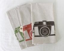 Vintage Diana Camera_Handmade Block Printed Tea Towel_Made in Seattle