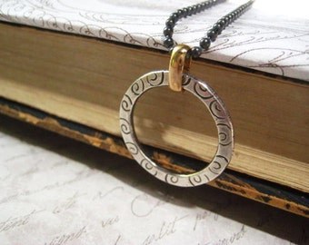 Circle Necklace, Fine Silver, Hand Stamped, Sterling Silver, Oxidized Design, Beaded Chain, Brass Bail, Mixed Metal, Pure Brass,Swirl Design
